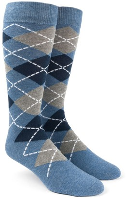 Tie Bar Argyle Blue Dress Socks