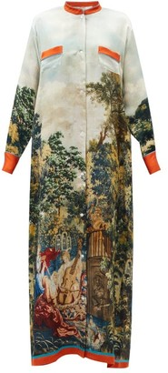 Issimo X F.r.s. For Restless Sleepers - Galene La Posta Vecchia-print Silk Dress - Orange Multi