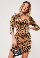 Missguided Brown Zebra Print Velvet Milkmaid Mini Dress
