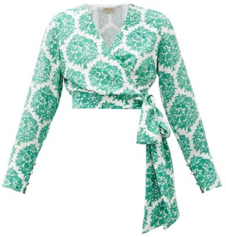 Beulah Gini Cropped Floral-print Silk Wrap Top - Green White