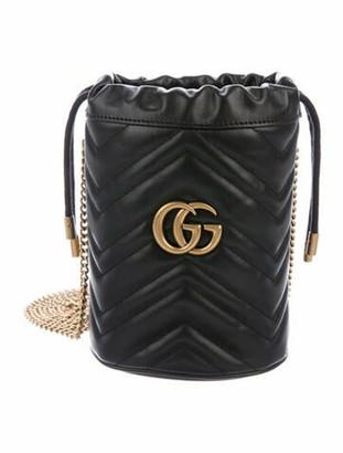 Gucci 2020 GG Marmont Mini Bucket Bag w/ Tags Black