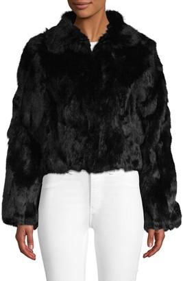 Adrienne Landau Textured Rabbit Fur Jacket