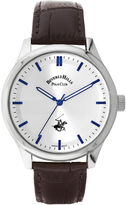 Beverly Hills Polo Club Mens Silver-Tone Sunray Dial Watch