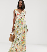 Asos DESIGN Maternity ruffle wrap maxi dress with tie detail in floral print