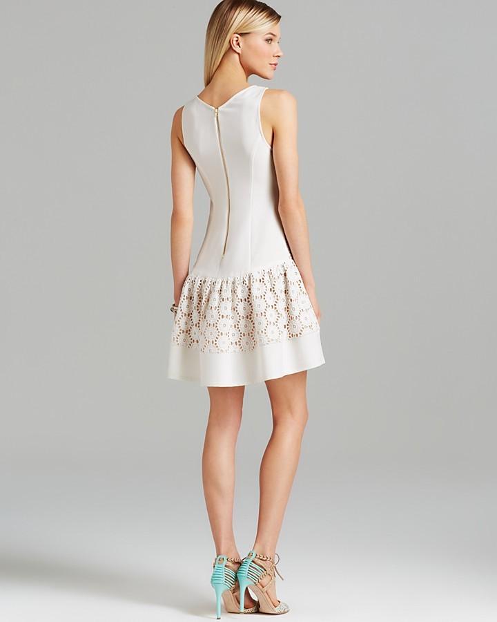 ABS by Allen Schwartz Dress - Sleeveless V Neck Crochet Lace Drop Waist