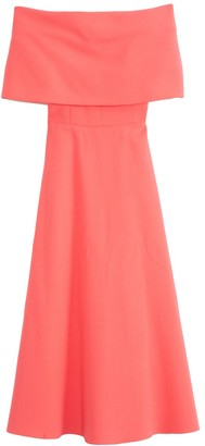 Lela Rose Off The Shoulder A-Line Dress in Peony