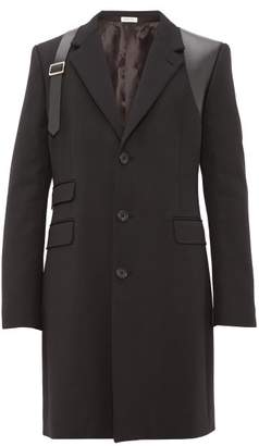 Alexander McQueen Leather Harness Single Breasted Wool Overcoat - Mens - Black