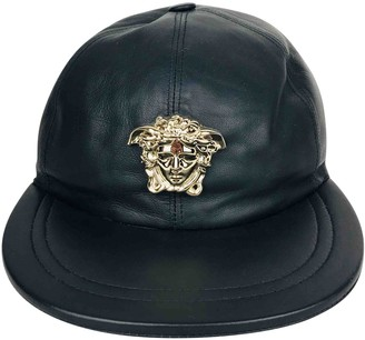 Versace Black Leather Hats & pull on hats