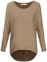JJ Perfection Women's Casual Boat Neck Slub Knit Long Sleeve T-Shirt MOCHA 2XL