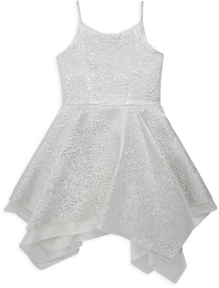 Zoe Girl's Snow Queen Metallic Brocade Fit-&-Flare Dress