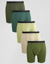 Asos Long Length Trunks In Khaki 5 Pack
