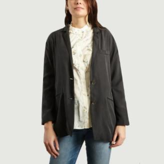 American Vintage Carbon Lyocell Long Sleeves Nalastate Blazer Jacket - Lyocell | small
