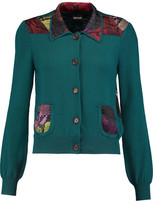 Just Cavalli Printed Crepe De Chine-Paneled Wool-Jersey Cardigan