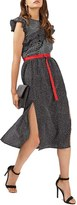 Topshop Women's Belted Spot Stripe Ruffle Trim Dress