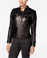 Cole Haan Leather Quilted-Trim Moto Jacket