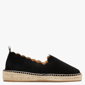 Carmen Saiz Black Suede Scalloped Edge Espadrilles