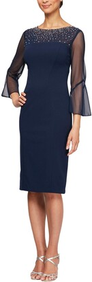 Alex Evenings Women's Short Sheath Dress with Embellished Illusion Neckline