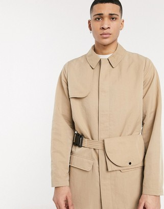 ASOS DESIGN single breasted trench coat with bag belt in stone