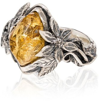Lyly Erlandsson Sterling Silver Leaf Stone Ring