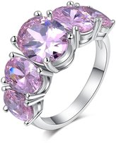 SMILEY pink zircon wedding ring platinum lady jewelry zircon wedding silver plated ring 6.0
