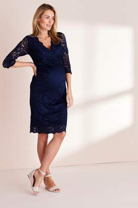Next Womens Navy Maternity Lace Bodycon Dress - Blue