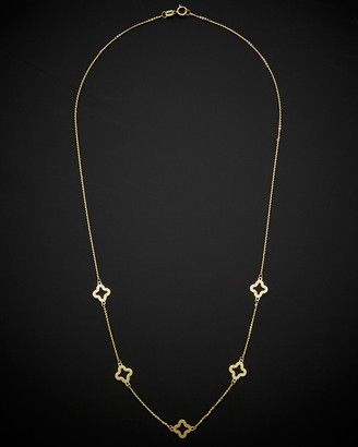 Italian Gold 14K Clover Flower Station Necklace