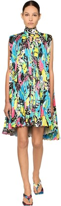 Balenciaga Pleated Print Light Satin Mini Dress