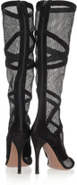 Alaia Suede-trimmed mesh knee boots
