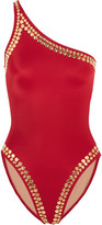 Norma Kamali Mio One-shoulder Studded Swimsuit - Red