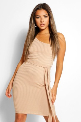 boohoo Petite One Shoulder Belted Rib Midi Dress