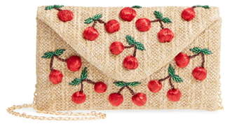 Nordstrom Cherry Embellished Straw Envelope Clutch