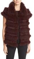 Tory Burch Women's Blaire Genuine Rabbit & Fox Fur Vest