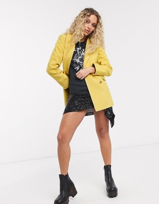 Topshop tailored blazer in yellow check