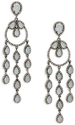 Bavna Black Rhodium-Plated Sterling Silver, Aquamarine Diamond Drop Earrings