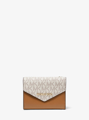 MICHAEL Michael Kors MK Medium Logo and Leather Envelope Wallet - Vanilla/acorn - Michael Kors