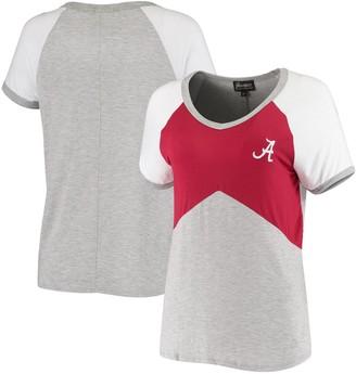 Women's Crimson/Heathered Gray Alabama Crimson Tide Bold Ambition Colorblock V-Neck Raglan T-Shirt