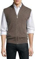 Neiman Marcus Cashmere Stand-Collar Zip-Front Vest, Walnut