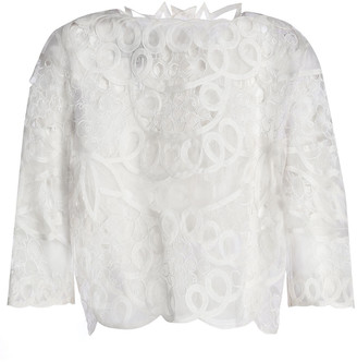 Carolina Herrera Embroidered Silk-organza Top