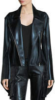 Norma Kamali Gang Zip-Front Metallic Jacket