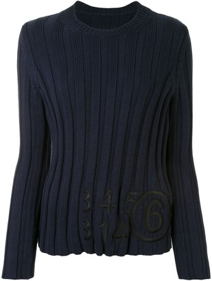 MM6 MAISON MARGIELA Logo Ribbed Knit Jumper
