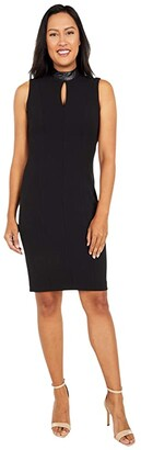 Calvin Klein Sheath Dress with Faux Leather Neck and Keyhole (Black) Women's Dress
