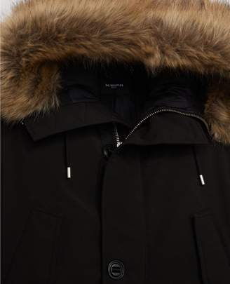 The Kooples Long black polyester parka with hood