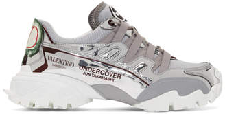 Valentino Silver and Grey Garavani Undercover Edition Climbers Sneakers
