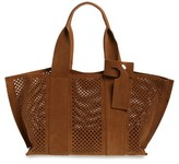 Pedro Garcia 'Castoro' Perforated Suede Tote - Brown