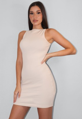 Missguided Tall Cream Rib Wide Neck Mini Dress