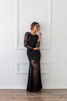 Donna Mizani Embroidered Mermaid Gown in Black