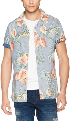 Tommy Jeans Men's Floral Short Sleeve Button Down Casual Shirt