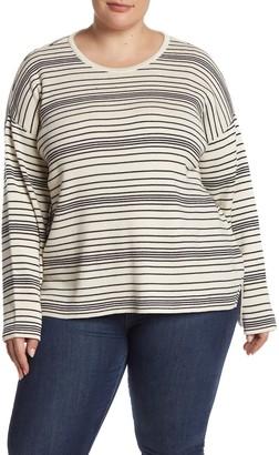 Eileen Fisher Striped Crew Neck Organic Cotton Top (Plus Size)