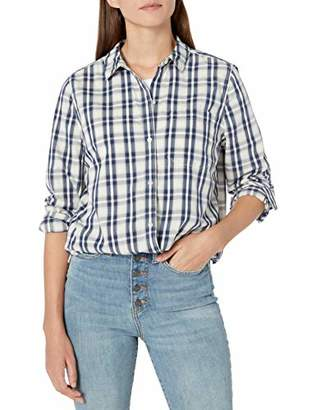 Goodthreads Lightweight Twill Long-sleeve Boyfriend Shirt Button,XS