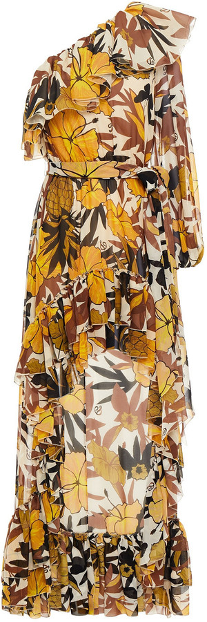 Dundas One-shoulder Ruffled Floral-print Silk-voile Dress